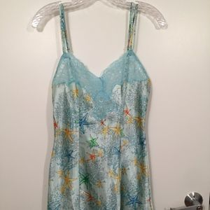 Victoria's Secret Blue Satin Lace Slip Gown Sleep